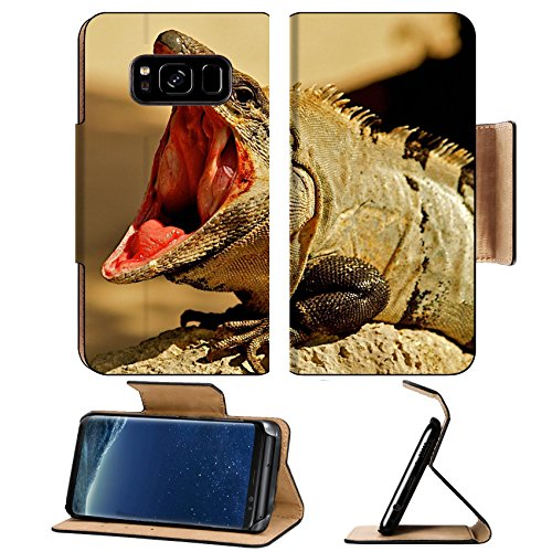 Iguana Grain - Liili Premium Samsung Galaxy S8 Plus Flip Pu Leather Wallet Case Iguana with mouth wide open Photo 5052913 Simple Snap Carrying