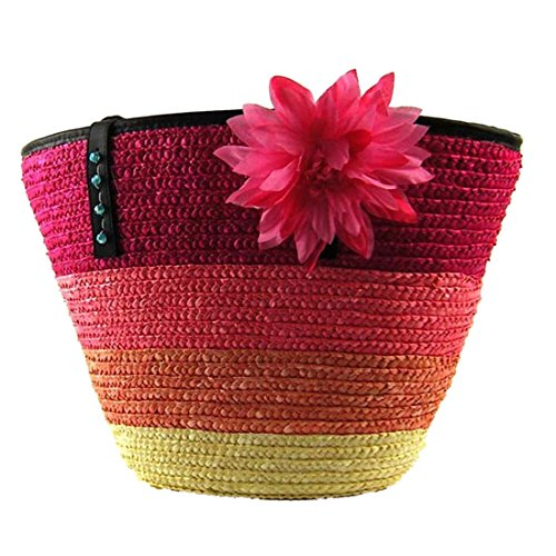 Las Mujeres Tejen Rayas Paquete Pestanas Flor Bolsas Bolsos De Hombro De Lona Casuales Rosa Roja