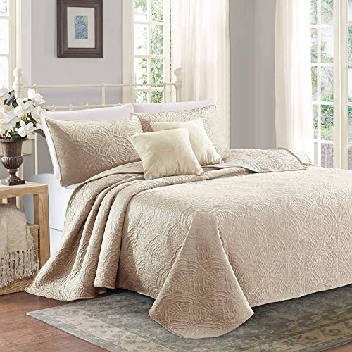Shell 3-Piece Luxury Embroidered Velvet Quilt Set (Taupe, King) (Velvet Washed Quilt)
