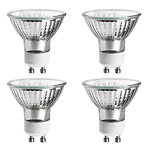 Luxrite LR20490 (4-Pack) 35W/GU10/120V 35-Watt MR16 Halogen Light Bulb, Glass Cover, Dimmable, 320 Lumens, GU10 base