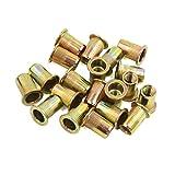 uxcell® 20 Pcs M8 Bronze Tone Carbon Steel Thread Flat Head Rivet Nut Insert Nutserts