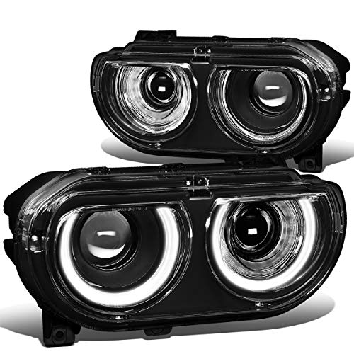 Pair LED DRL+Sequential Turn Signal+Ram Air Intake Port Projector Headlight Upgrade for 08-14 Dodge Challenger