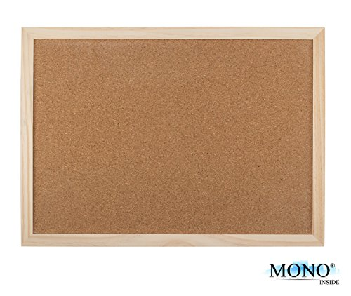 MONOINSIDE Multi-Use Memory Cork Surface Bulletin Board, Thick Wood Frame, Wall Mountable, 19