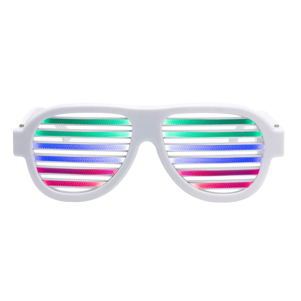 Ameyes USB Rechargeable Light Up Shutter Shaded Glasses Music & Sound Reactive Flashing Funny Party Glasses Slotted Glasses