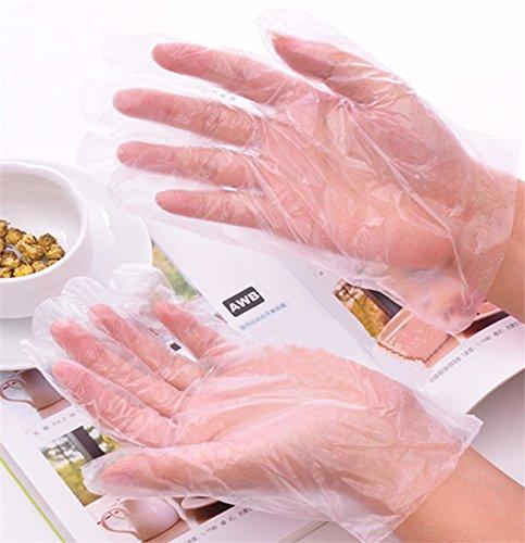 lumanuby 100/pezzi di plastica guanti in polietilene materiale guanti usa e getta per forno//casa//Ristorante//ristorazione//capelli Salon trasparente colore taglia unica