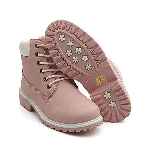 punta redonda de color mujer sólido Zapatos de Pink goma Coffe de Best Style Pink de 4U® Casual goma de Shoeslace Botines PSvx0tqg