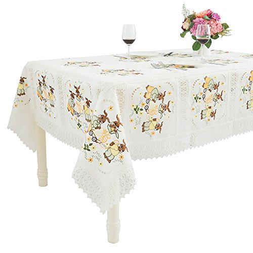 Just-Enjoy Lace Easter Festival Decoration Cute Bunny Embroidered Thick Table Cloth 72x108''