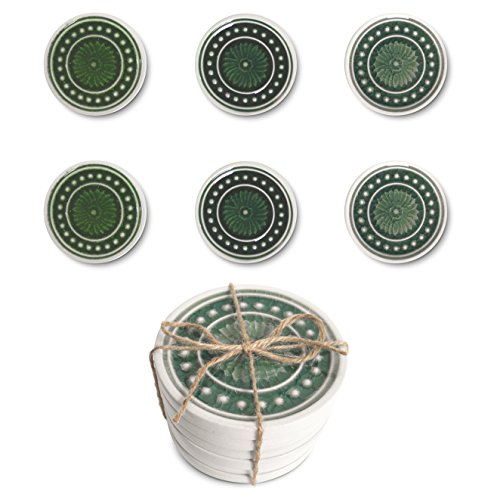 Set of 6 Round Ceramic Coaster Set | Hand-Glazed Stone Table Glass and Cup Holders | Cork Backing | Home Decorations | Coasters for Chilled / Hot Drinks | 23 Bees (Set of 6)