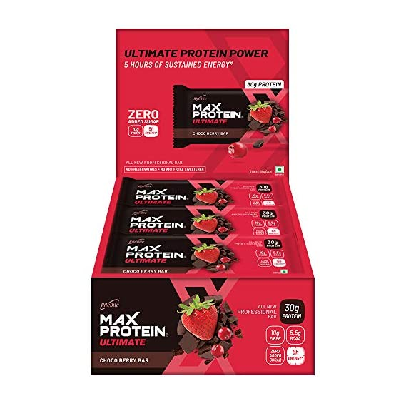 RiteBite Max Protein Ultimate Choco Berry Bars 1200g - Pack of 12 (100g x 12)