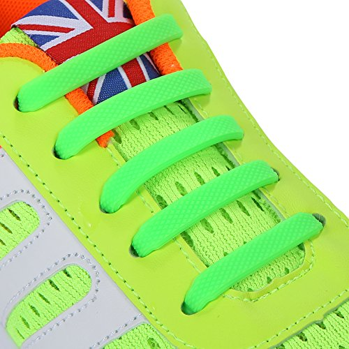 INMAKER No Tie Shoelaces for Kids and Adults, Silicone Flat Shoelaces for Sneaker, Elastic Waterproof Tieless Running Shoe Laces (S/Green) (Olive Green Football)