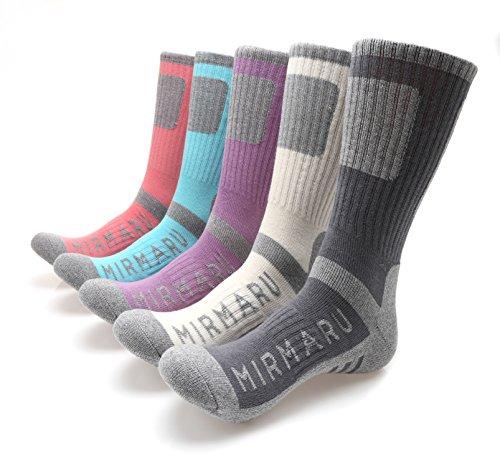 MIRMARU M212 Womens 5 Pairs Multi Performance Outdoor Sports Hiking Trekking Crew Socks (Charcoal,Cream,Lavender,Aruba,Blush)