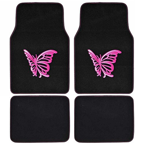 BDK Universal Fit 4-Piece Carpet Floor Mat Set - (Pink Butterfly Design) (Licensed Products, Auto Accessory)