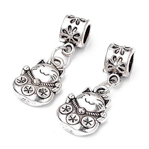 MegaPet 10pcs Antique Silver Cat Shape Tibetan Style Alloy European Dangle Pendants Pet Animal Charms Beads fit European Charm Bracelets for Necklace and European Snake Chain, 26.5mm, Hole: 4.5mm ()