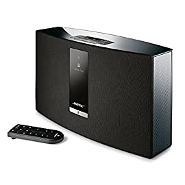 Bose SoundTouch 20 Series III Wireless Music System - Black 75 Works with Alexa for voice control (Alexa device sold separately), Remote - 4.5 H x 1.75 W x 0.5  D inches Proprietary acoustic design delivers big performance from a compact speaker—perfect for bedrooms and kitchens Works with Wi-Fi and Bluetooth devices to play music services like Amazon Music, Spotify, Internet radio stations and your stored music library. Wireless network compatibility- 802.11 b/g/n