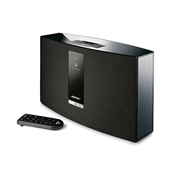 Bose SoundTouch 20 Series III Wireless Music System - Black 1 Works with Alexa for voice control (Alexa device sold separately), Remote : 4.5 H x 1.75 W x 0.5 D inches Proprietary acoustic design delivers big performance from a compact speaker—perfect for bedrooms and kitchens Works with Wi Fi and Bluetooth devices to play music services like Amazon Music, Spotify, Internet radio stations and your stored music library; Wireless network compatibility 802.11 b/g/n
