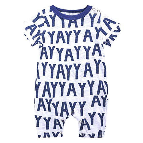 Emimarol Toddler Infant Newborn Baby Boys Jumpsuit,Short Sleeve Patchwork Cartoon Print Bodysuit Playsuit for Summer Blue