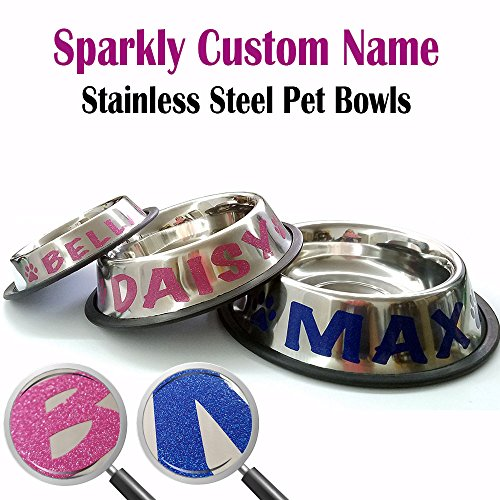 Engraved Dog Bowls - Jeyfel Decals: Personalized Stainless Steel Pet Bowl. Sparkly Glitter Custom Name. Choose Your Size, Choose Your Color. for Cats, Dogs, Puppies, or Other Pets. (1 Cup-8oz)