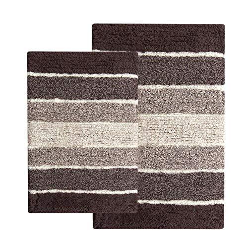 Chardin Home - 100% Pure Cotton - 2 Piece Cordural Stripe Bath Rug Set, (21''x34'' & 17''x24'') Brown-Beige with Latex spray non-skid backing