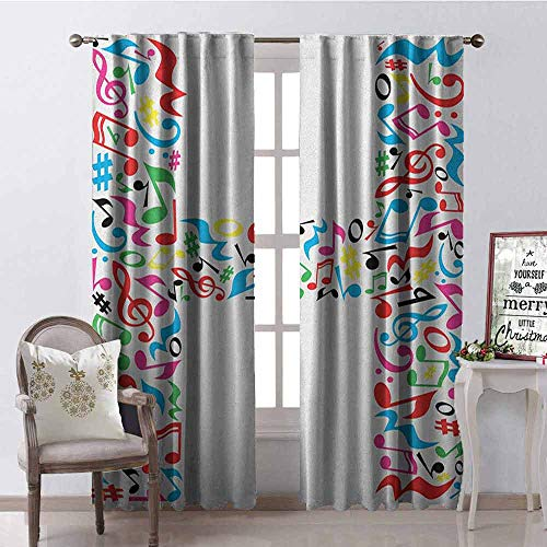 Gloria Johnson Letter H Blackout Curtain Communication Tool Writing Language Element H Designed in Musical Notes Print 2 Panel Sets W52 x L108 Inch Multicolor ()