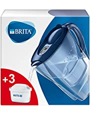 BRITA Marella waterfilterkan voor vermindering van chloor, kalk en onzuiverheden, Inclusief 3 x MAXTRA+ filterpatronen, 2,4L -blauw