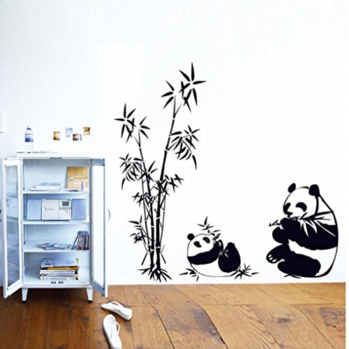 Hatop Home Decor Mural Vinyl Wall Sticker DIY Panda Bamboo Pattern Nursery Room Wall Art Decal (A)
