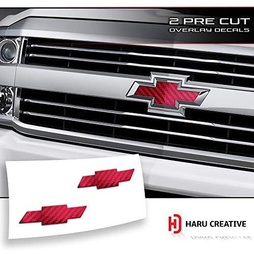 Haru Creative - Front Hood Grille Tailgate Bumper Trunk Bowtie Emblem Overlay Vinyl Decal Sticker Compatible Fits Chevy Chevrolet Silverado 2016-2018 - 5D Gloss Carbon Fiber ()