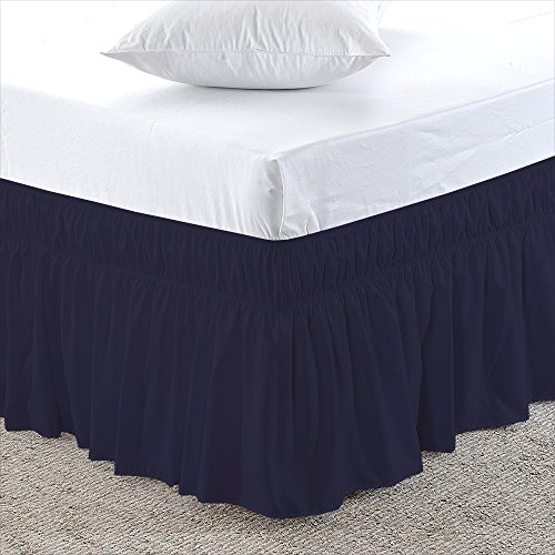 Navy Blue Queen Size 30 inch Drop - Wrap Around Elastic Bed Skirt - Poly Cotton - Easy On/Easy Off Dust Ruffled Bed Skirts Soft & Wrinkle Free Bed Skirt. (Queen Bed Sale On Skirts)