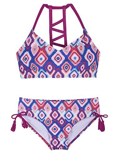 Young Cute Teen (Hilor Girl's Strappy Bikini Set Two Piece Swimsuits Side Tie Hipster Swimwear Tassels Tankini Set Purple&Blue)