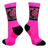 Basketball Player Crew Socks (Neon Pink/Black, Medium)