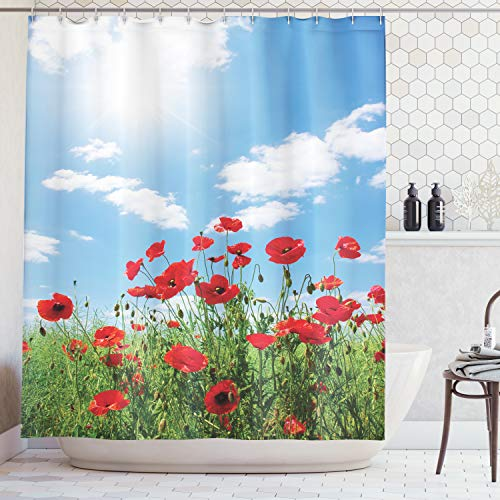 - Ambesonne Poppy Decor Collection, Red Poppies on Green Field Grassy Sunshine Rays Wild Plants Herbs Botany Image, Polyester Fabric Bathroom Shower Curtain Set with Hooks, Blue Red Green