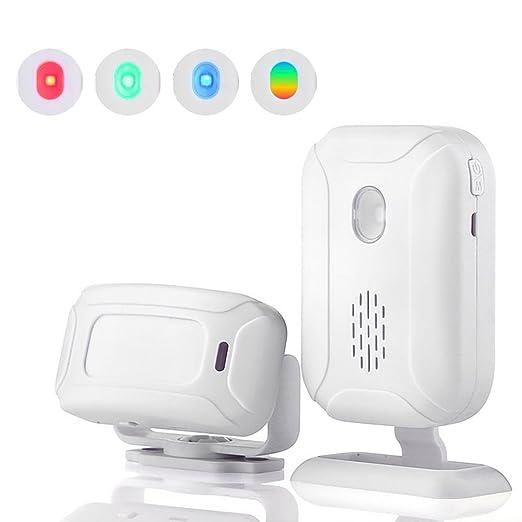 Teepao - Alarma de Seguridad inalámbrica para el hogar - 1 Receptor y 1 Sensor de Movimiento de Larga Distancia de transmisión, Timbre de Entrada para casa ...