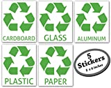 5 pack Recycle Sticker with labels for recycling glass, plastic, paper, cardboard, and aluminum on any color (green, white, blue) bin or container