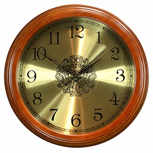 StylishSolid Wood European Mute Wall Clock Living Room American Retro Wooden Clock Fashion Chinese Style Bedroom Hanging Table, 16 inches (Diameter 40.5 cm), Chestnut Color-[B Metal] Clock face