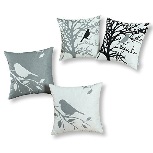 CaliTime Set of 4 Soft Canvas Throw Pillow Covers Cases Couch Sofa Home Decoration Shadow Bird Tree Branches Silhouette 18 X 18 inches Medium Grey