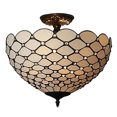 Amora Lighting AM086CL16 Tiffany-Style Jewel 2-Light Semi-Flush Ceiling Fixture, 16-Inch