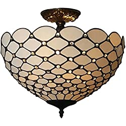 Amora Lighting AM086CL16 Tiffany-Style Jewel 2-Light Semi-Flush Ceiling Fixture, 16-Inch