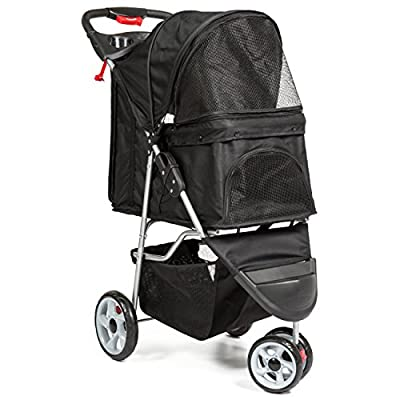 Best Choice Products 3-Wheel Folding Pet Stroller Travel Carrier Carriage For Cats And Dogs from Best Choice Products