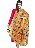 Weavers Villa® Punjabi Hand Embroidery Phulkari Faux Chiffon Beige Dupatta, Stoles