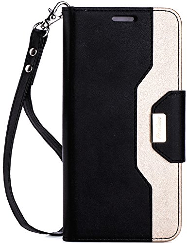 ProCase Galaxy S8 Wallet Case, Flip Kickstand Case with Card Slots Mirror Wristlet, Folding Stand Protective Cover for Samsung Galaxy S8 2017 -Black