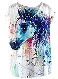 Futurino Women's Dream Mysterious Horse Print Short Sleeve Tops Casual Tee,Medium