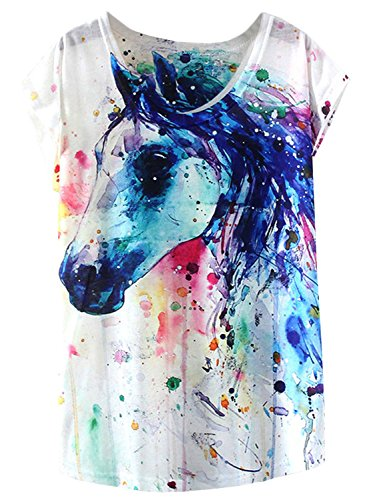 futurino Women's Dream Mysterious Horse Print Short Sleeve Tops Casual Tee Shirt White
