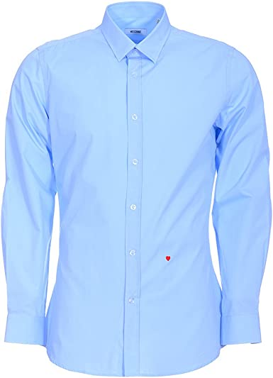 Moschino - Camisa Formal - para Hombre Azul Light Blue Solid 109 cm/ 43 cm: Amazon.es: Ropa y accesorios