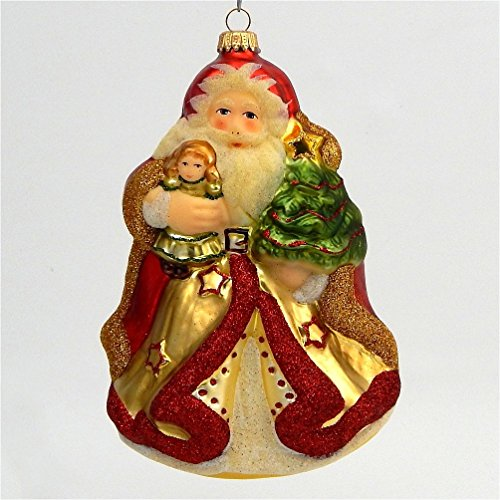 A Bit of Britain Swiss Santa with Child - German Blown Glass - Lauscha Germany