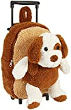 Plush Brown Puppy Stuffie Trolley Rolling Backpack