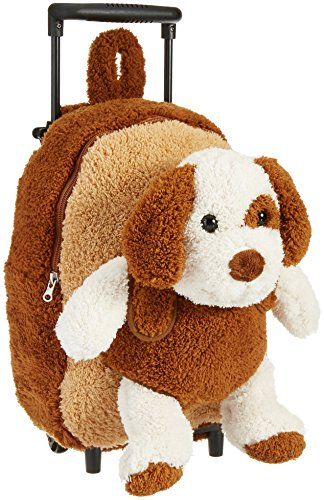 Kreative Kids Brown Puppy Rolling Backpack w/Removable Stuffed Toy & Wheels