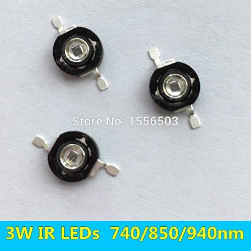 Jammas 50 PCS 3W Infrared IR High Power LEDs Emitter CCTV Camera IR Diode for Security Black LEDs Chip 740nm 850nm 940nm 3W 700mA - (Emitting Color: 740nm)