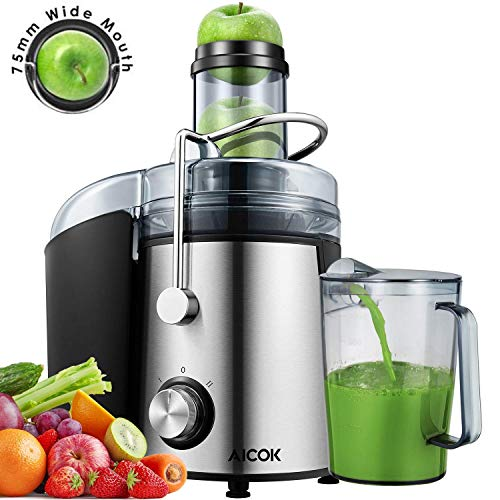 Aicok Juicer 1000W Powerful Juicer Machine Real 3'' Whole Fruit and Vegetable Feeder Chute Juice Extractor, Dual Speeds Centrifugal Juicer, Anti-drip, Stainless Steel and BPA-Free