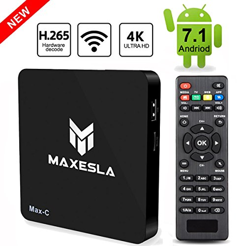 Maxesla Max C Android 7.1 Newest C Smart 1GB Ram + 8GB Rom, Upgrade Amlogic S905W Chipset, True 4K Uhd Playing, Support H.265 Video Decoder, 2.4GHz Wifi TV Box with Remote C (Via Set Ram Chip)