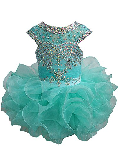 Junguan Toddlers Girls Lace Tutu Baby Crystal Pageant Cupcake Dress 6M Mint