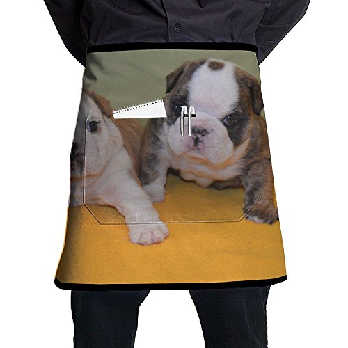 Jgiurhguij Bulldog In Love Restaurant Cooking Kitchen Half Body Waist Aprons Sewing Pocket Apron by Jgiurhguij (Image #1)